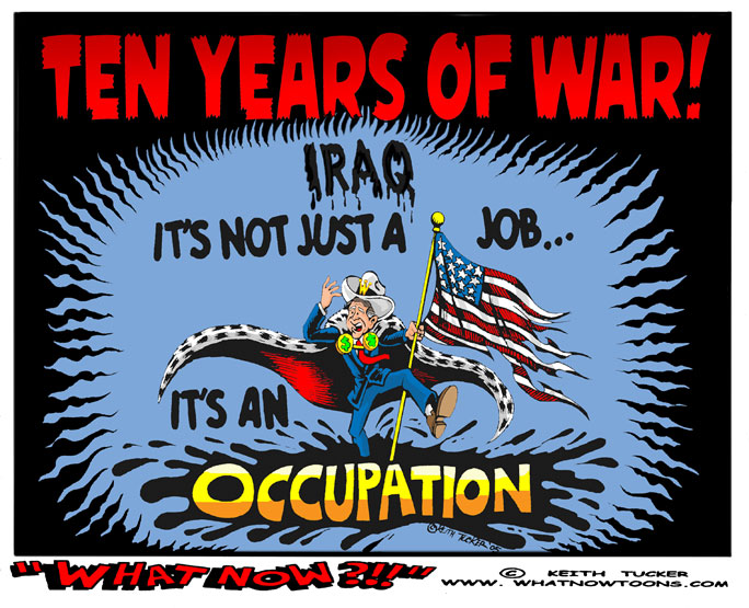 War Wire, Iraq, Video, Iraq Invasion, Iraq War Anniversary, Iraq Invasion Anniversary, Baghdad, Baghdad Invasion, Baghdad Photos, Iraq Invasion 10th Anniversary, Iraq Photos, World News, G> W> Bush, Dick Cheney, Political Cartoons, Iraq Reconstruction Funds, U.S. invasion of Iraq, Shock and Awe, Iraq Surge,  Oil and Politics, Occupied Iraq, GOP wars