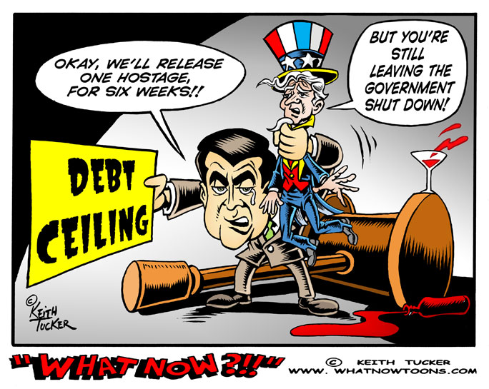 Government Shutdown, John Boehner, Republican Party, Obama, Debt Limit, Debt Default, House Republicans Debt Ceiling, John Boehner Debt Ceiling, John Boehner Debt Limit, Politics News, independent political cartoons, progressive cartoons, GOP, Democrats, Uncle Sam,daily Kos, Randi Rhodes, Thom Hartmann